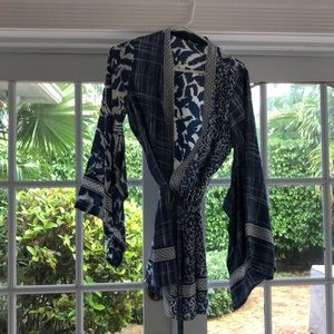 Blue and White Silk BCBG Kimono Top